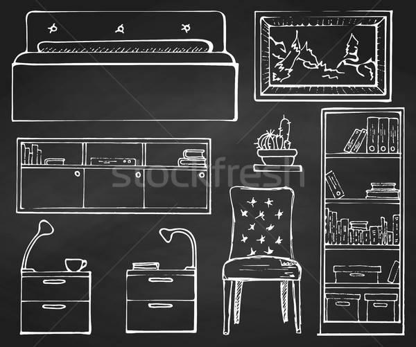 Rajz szett izolált bútor kézzel rajzolt kréta Stock fotó © Arkadivna