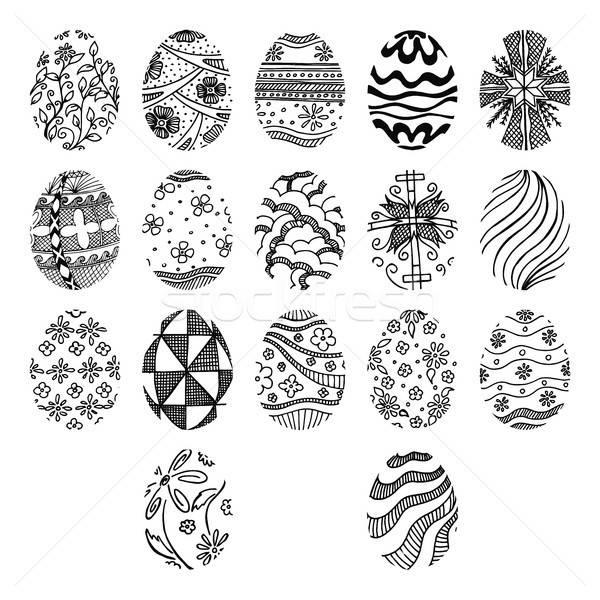 œufs de Pâques isolé blanche main tirer Pâques Photo stock © Arkadivna