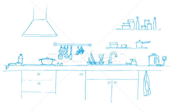 Kitchen sink. Kitchen worktop with sink. The sketch of the kitchen Stock photo © Arkadivna
