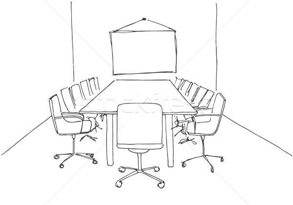 Conferentiezaal schets stijl bureaustoel Stockfoto © Arkadivna