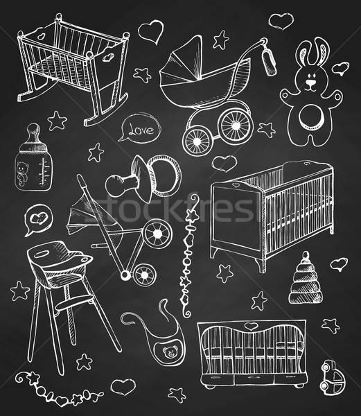 Ingesteld meubels verschillend kind hand Stockfoto © Arkadivna