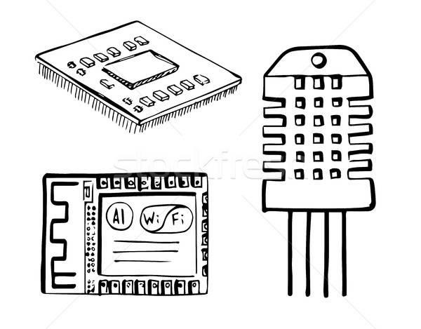 のCPU  無線lan モジュール 電子 センサー 孤立した ストックフォト © Arkadivna