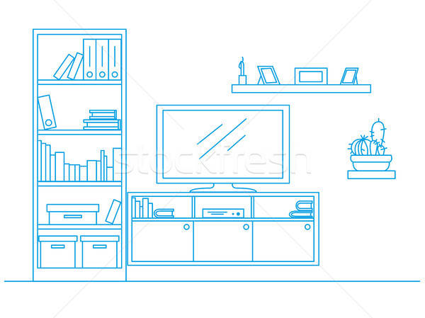 Linear sketch of the interior drawn by a blue pen. Bookcase, dresser with TV and shelves. Vector il Stock photo © Arkadivna