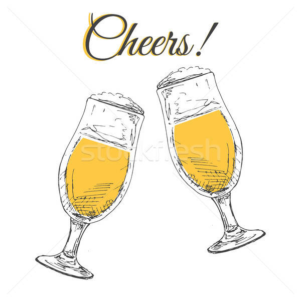 Two glasses with beer on a white background. Inscription Cheers Vector illustration in sketch style. Stock photo © Arkadivna