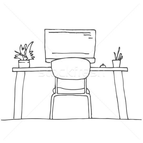 Boceto habitación silla de oficina escritorio objetos Foto stock © Arkadivna