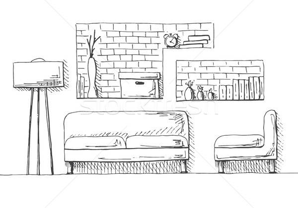 Sofa, armchair and floor lamp. Brick wall with shelves. Vector illustration of a sketch style. Stock photo © Arkadivna