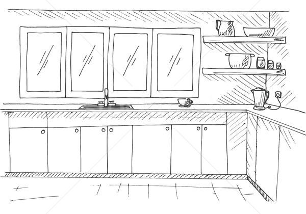 Kroki mutfak büyük pencere stil ev Stok fotoğraf © Arkadivna
