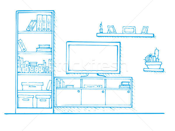 Sketch drawn by a blue pen. Linear sketch of the interior. Bookcase, dresser with TV and shelves. Ve Stock photo © Arkadivna
