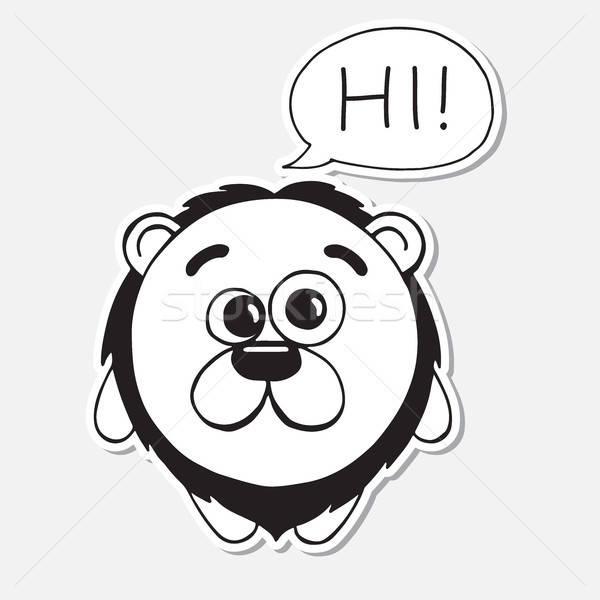 Stok fotoğraf: Komik · aslan · karikatür · stil · bulut