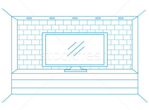 Linear sketch of the interior. Dresser with TV. Vector illustration. Stock photo © Arkadivna