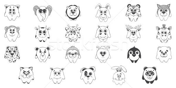 Set of cute cartoon animals. Stock photo © Arkadivna