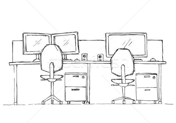Open ruimte kantoor buitenshuis stoelen schets Stockfoto © Arkadivna