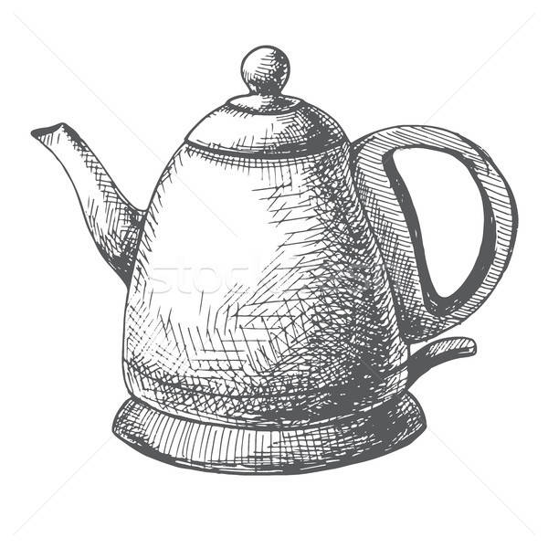 Electric kettle isolated on white background. Vector illustration of a sketch style. Stock photo © Arkadivna