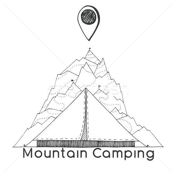 çadır dağlar navigasyon imzalamak amblem logo Stok fotoğraf © Arkadivna