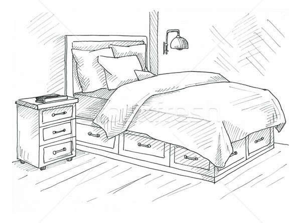 Kézzel rajzolt rajz lineáris belső vonal hálószobák Stock fotó © Arkadivna