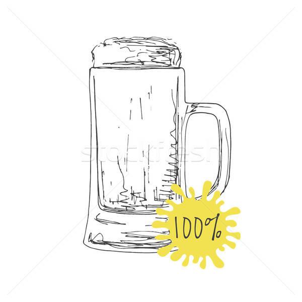 Kupa bira yalıtılmış beyaz kroki Stok fotoğraf © Arkadivna