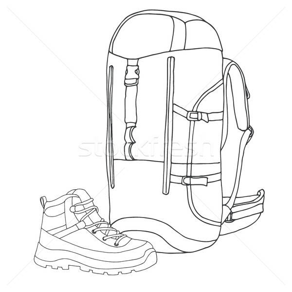 Tourist backpack, boot. Equipment for the hike. Hand drawn vector illustration of a sketch style. Stock photo © Arkadivna
