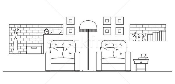 Two armchairs, a floor lamp, shelves in the wall. Vector illustration in a linear style. Stock photo © Arkadivna