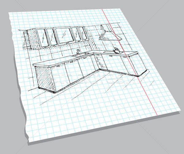 Hand drawn sketch of the interior on a notebook sheet. Quick drawing of kitchen furniture. Vector il Stock photo © Arkadivna