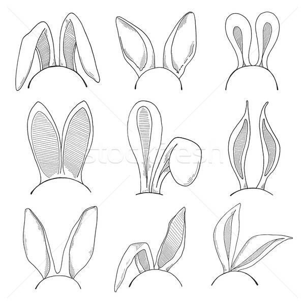 Rajz szett fülek húsvéti nyuszi vektor kellemes húsvétot Stock fotó © Arkadivna