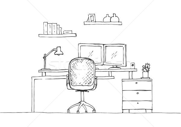 Kroki oda ofis koltuğu büro nesneler Stok fotoğraf © Arkadivna