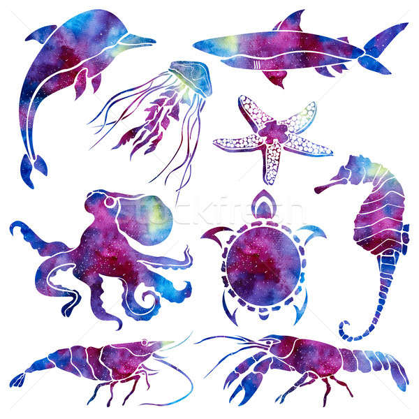 Silhouettes of different marine life. Space background. Hand drawn watercolor illustration. Stock photo © Arkadivna