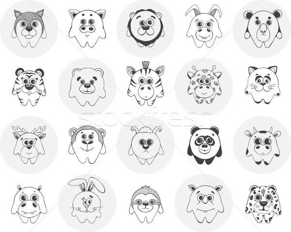 Groot ingesteld verschillend schattige dieren patroon decoratie Stockfoto © Arkadivna