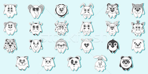 Set of stickers. Set of cute cartoon animals.Children's pattern for decoration. Vector illustration  Stock photo © Arkadivna