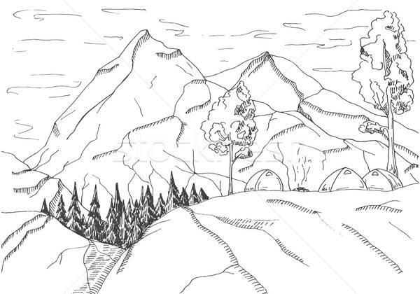 Montagna panorama falò foresta montagna sketch Foto d'archivio © Arkadivna