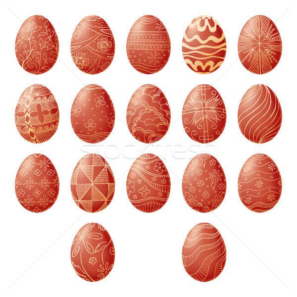 Paskalya yumurtası yalıtılmış beyaz el çekmek Paskalya Stok fotoğraf © Arkadivna