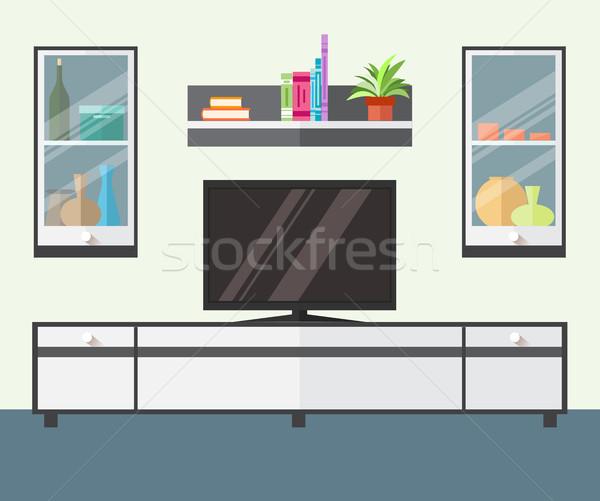 Stok fotoğraf: Iç · oturma · odası · mobilya · tv · raf · dizayn