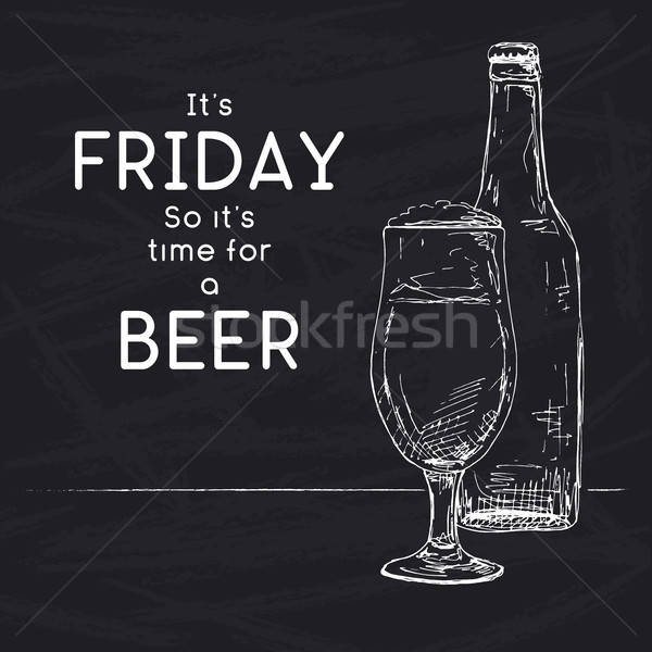 Bottle of beer. Glass with beer. Caption: it's friday so it's time for a beer. Vector illustration o Stock photo © Arkadivna