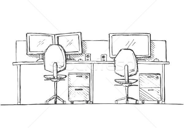 Open Space office. Workplaces outdoors. Tables, chairs. Vector illustration in a sketch style. Stock photo © Arkadivna