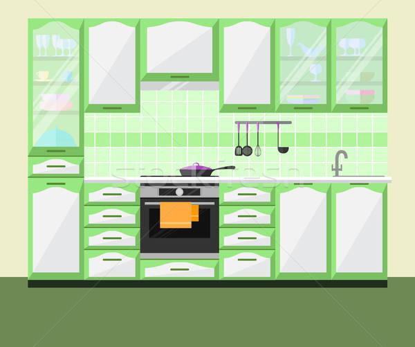 Kitchen interior with furniture and equipment. Vector flat illustration. Stock photo © Arkadivna