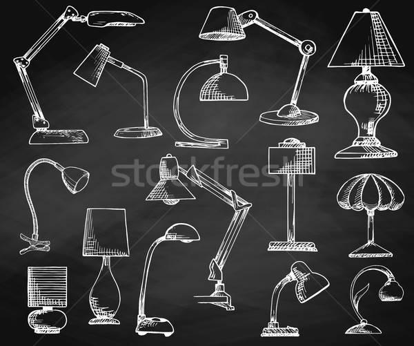 Ayarlamak lambalar tebeşir örnek kroki Stok fotoğraf © Arkadivna