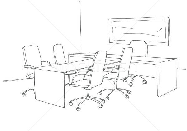 Office in a sketch style. Hand drawn office desk, office chair. Vector illustration. Stock photo © Arkadivna