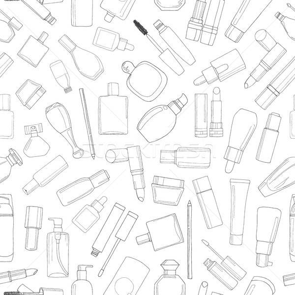 Seamless pattern with cosmetics. Lipsticks, mascara, cream. Vector illustration of a sketch style. Stock photo © Arkadivna