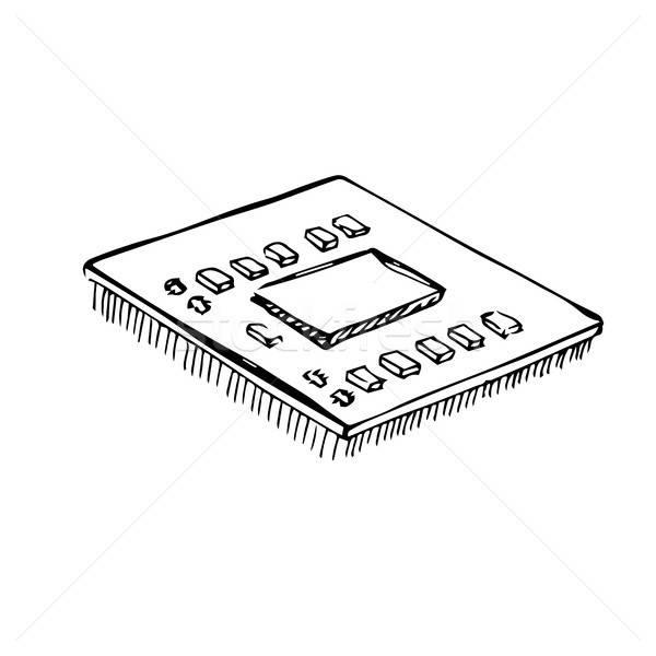 Microprocessor cpu bewerker geïsoleerd witte schets Stockfoto © Arkadivna