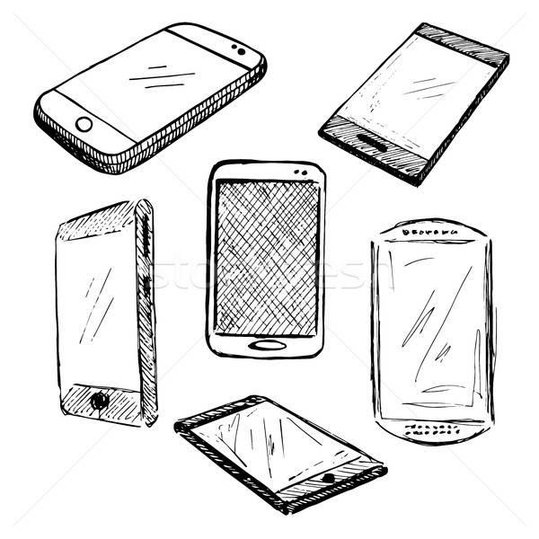 Sketch different phones, smartphones. Vector illustration. Stock photo © Arkadivna
