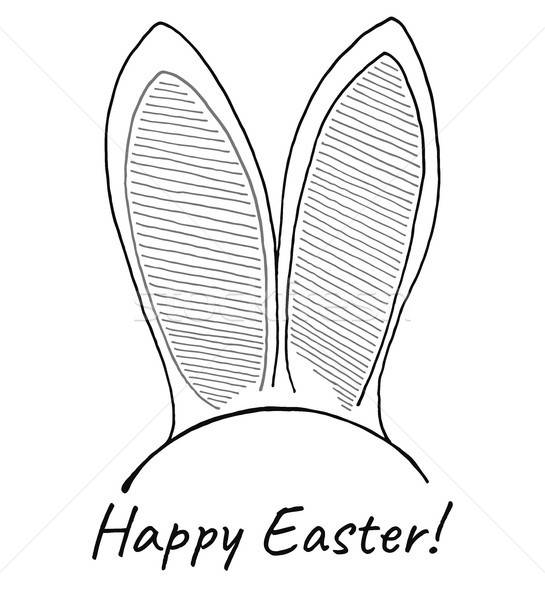 Sketch of the ears of the Easter bunny. Vector. Happy easter. Stock photo © Arkadivna