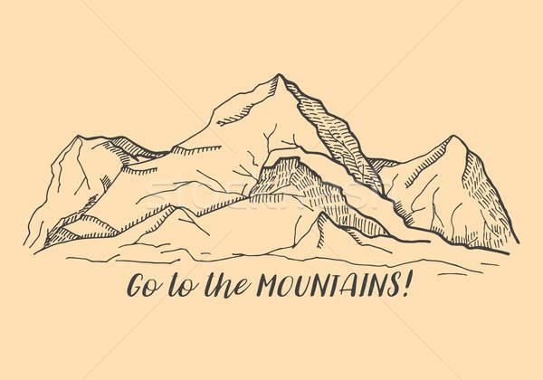 Opschrift bergen schets stijl weg zon Stockfoto © Arkadivna