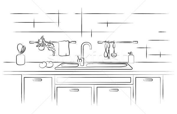 Kuchnia umywalka liniowy szkic domu meble Zdjęcia stock © Arkadivna