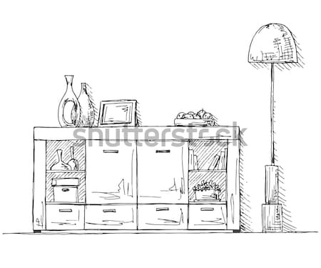 Kézzel rajzolt konyha bútor rajz stílus fal Stock fotó © Arkadivna
