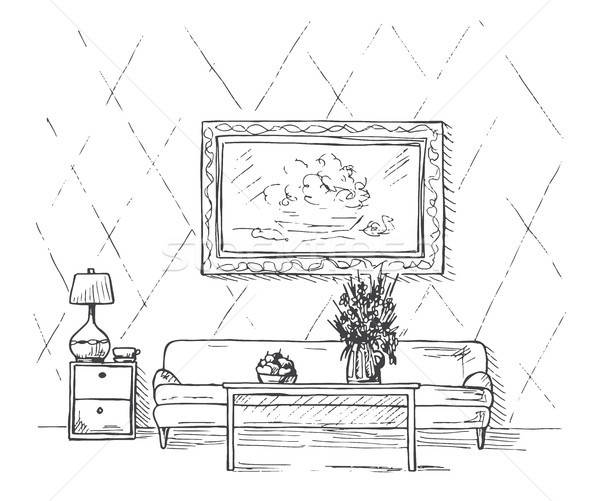 Linear sketch of an interior. Sofa, table, bedside table, lamp, flower and picture.Hand drawn vector Stock photo © Arkadivna