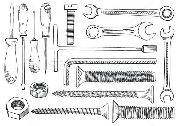 Establecer herramientas destornillador llave clave Foto stock © Arkadivna