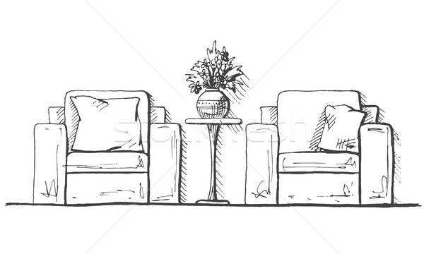 Dwa wysoki tabeli Wazon kwiaty Zdjęcia stock © Arkadivna