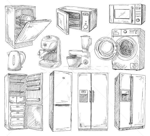 Hand drawn set of different household appliances. Vector illustration of a sketch style. Stock photo © Arkadivna