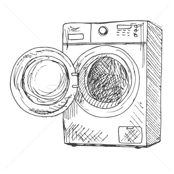 Washing Machine Isolated On White Background Vector Illustration Of
