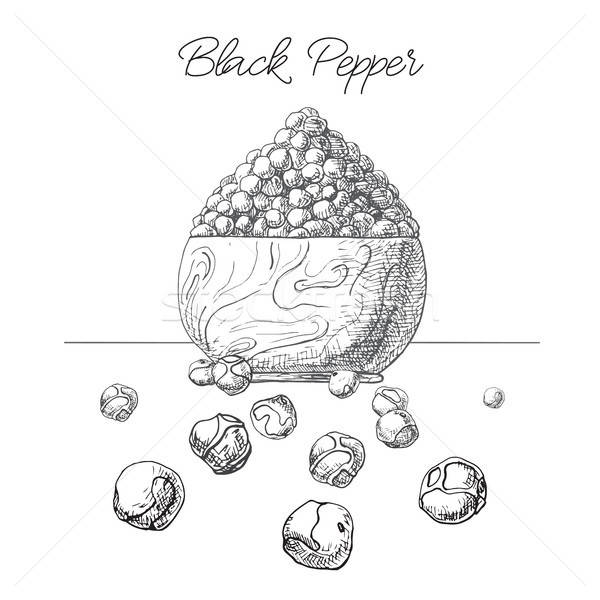 Grains of black pepper in a wooden bowl. Hand drawn black pepper isolated on white background. Vecto Stock photo © Arkadivna