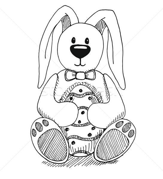 Rajz húsvéti nyuszi húsvéti tojás vektor kellemes húsvétot kéz Stock fotó © Arkadivna